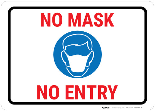 No Mask - No Entry Portrait - Wall Sign