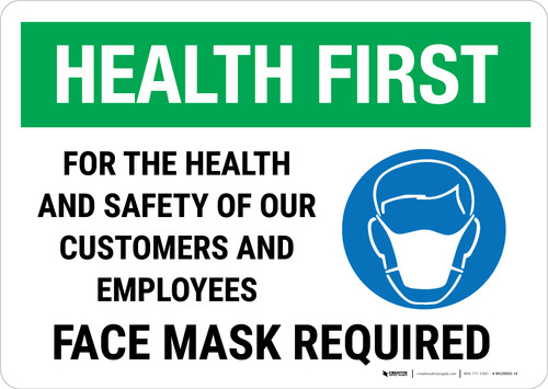 Health First: For The Health And Safety Face Mask Landscape - Wall Sign