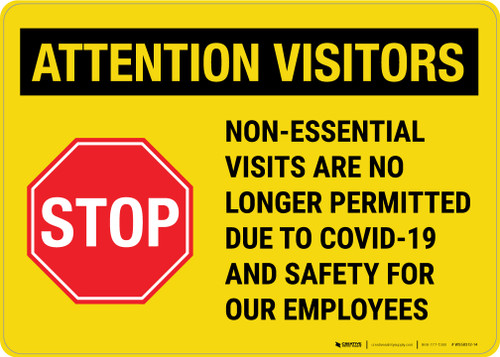 Attention Visitors - Non-Essential Visits Landscape - Wall Sign