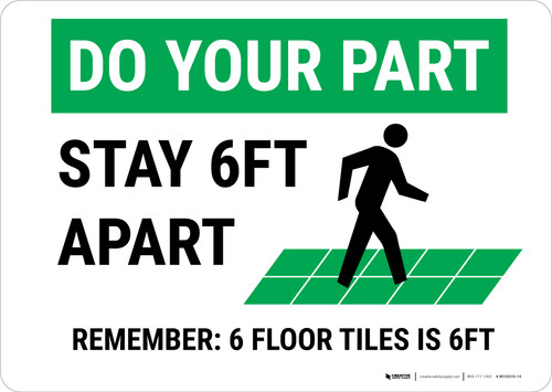 Do Your Part: Stay 6Ft Apart Floor Tiles Landscape - Wall Sign