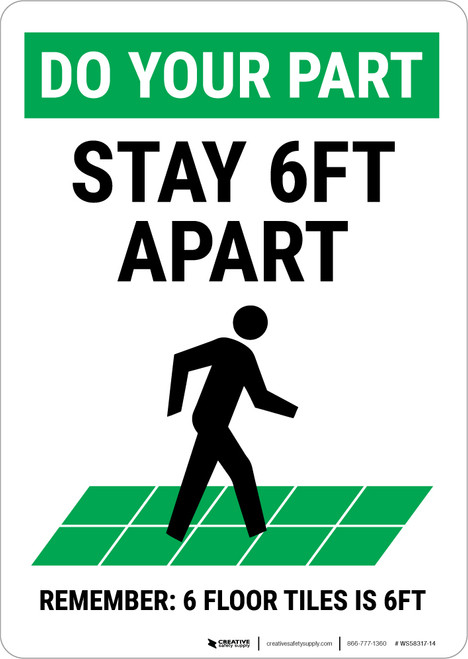 Do Your Part: Stay 6Ft Apart Floor Tiles Portrait - Wall Sign