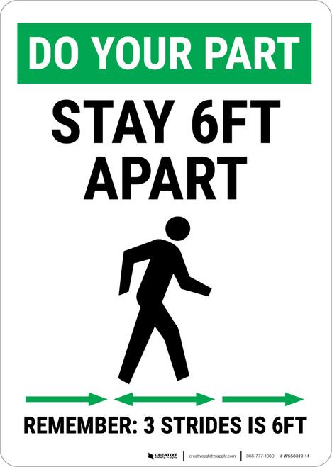 Do Your Part: Stay 6Ft Apart Strides Portrait - Wall Sign