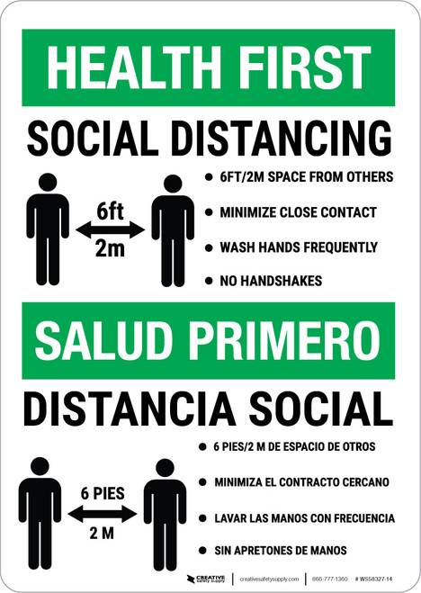 Health First: Social Distancing Biligual Portrait - Wall Sign