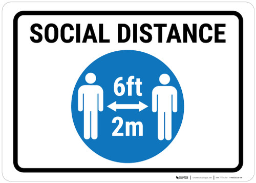 Social Distance Blue Icon Portrait - Wall Sign