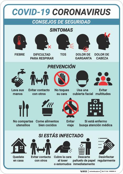 Consejos De Seguridad Coronavirus Multi-sign Spanish - Wall Sign