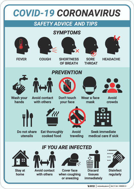 Safety Advice and Tips Coronavirus Multi-sign - Wall Sign