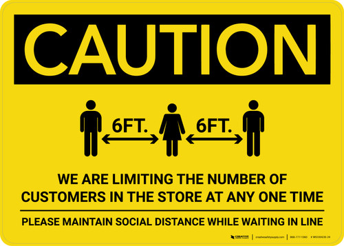 Caution: We are Limiting the Number of Customers in Store with Icon Landscape - Wall Sign