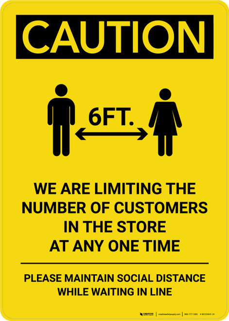 Caution: We are Limiting the Number of Customers in Store with Icon Portrait - Wall Sign
