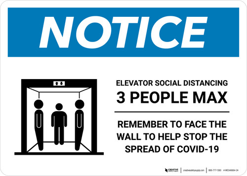 Notice: Elevator Social Distancing 3 People Max Landscape - Wall Sign