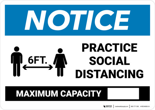 Notice: Practice Social Distancing - Max Capacity with Icons Landscape - Wall Sign