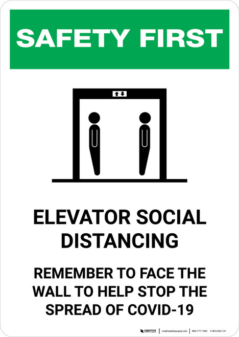 Safety First: Elevator Social Distancing - Remember to Face Wall with Icons Portrait - Wall Sign