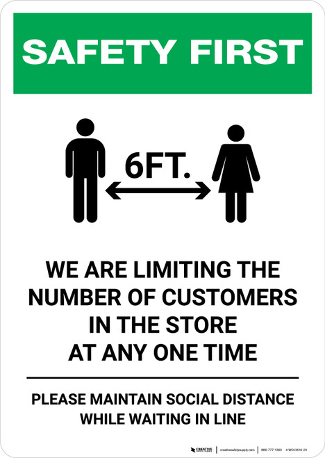 Safety First: Limiting Number Of Customers In Store with Icon Portrait - Wall Sign