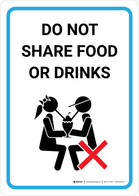Do Not Share Food Or Drinks with Icon Portrait - Wall Sign