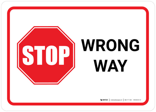 Stop Wrong Way Landscape - Wall Sign