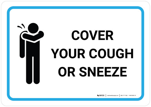 Cover Your Cough Or Sneeze with Icon Landscape - Wall Sign