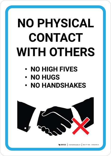 No Physical Contact With Others with Icon Portrait - Wall Sign