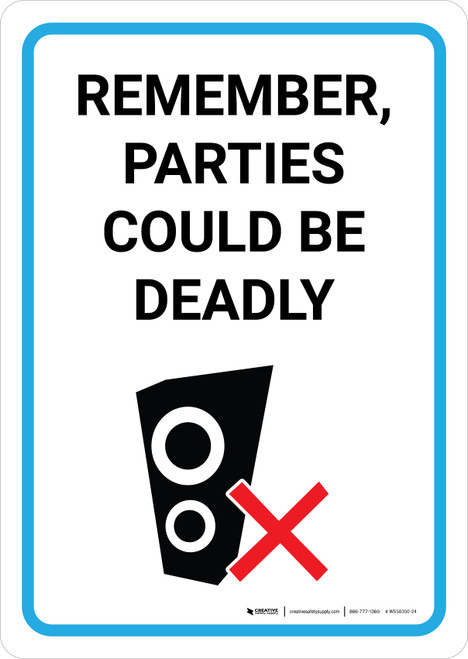 Remember Parties Could Be Deadly with Icon Portrait - Wall Sign