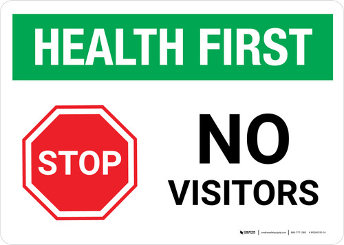 Health First: Stop No Visitors with Icon Landscape - Wall Sign