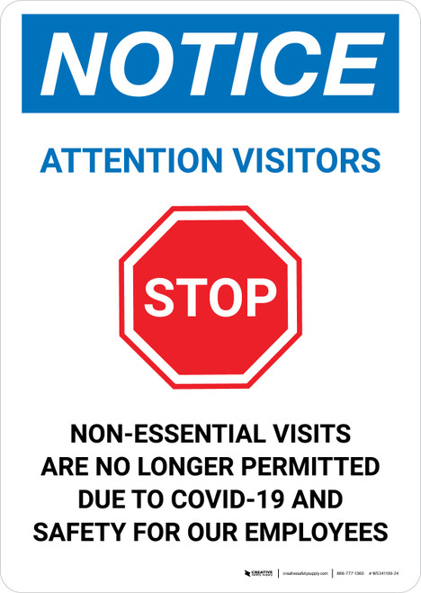 Notice: Attention Visitors Stop Visits No Longer Permitted with Icon Portrait - Wall Sign