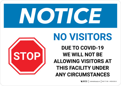 Notice: No Visitors Stop No Visitors Due To COVID-19 with Icon Landscape - Wall Sign