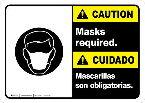 Caution: Masks Required Bilingual with Icon ANSI Landscape - Wall Sign