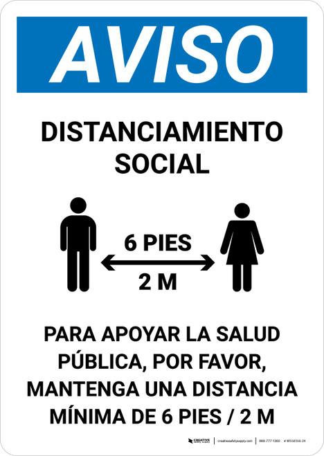 Aviso Distanciamiento Social Spanish with Icon Portrait - Wall Sign