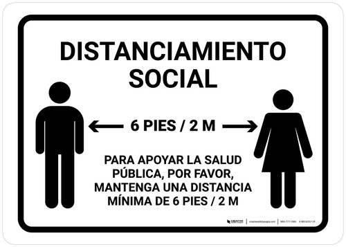 Distanciamiento Social Spanish with Icon Landscape - Wall Sign