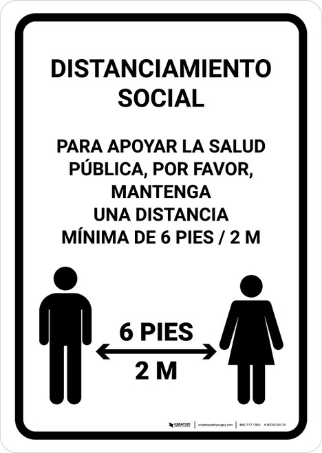 Distanciamiento Social Spanish with Icon Portrait - Wall Sign