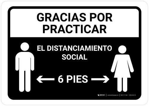 Gracias Por Practicar El Distanciamiento Social Spanish with Icon Black Landscape - Wall Sign