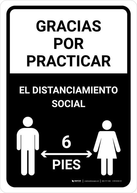 Gracias Por Practicar El Distanciamiento Social Spanish with Icon Black Portrait - Wall Sign
