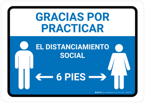 Gracias Por Practicar El Distanciamiento Social Spanish with Icon Blue Landscape - Wall Sign