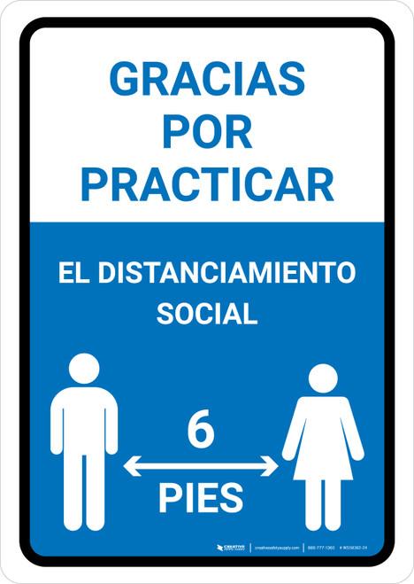 Gracias Por Practicar El Distanciamiento Social Spanish with Icon Blue Portrait - Wall Sign
