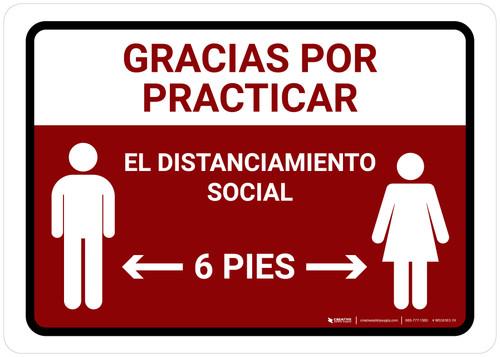 Gracias Por Practicar El Distanciamiento Social Spanish with Icon Red Landscape - Wall Sign