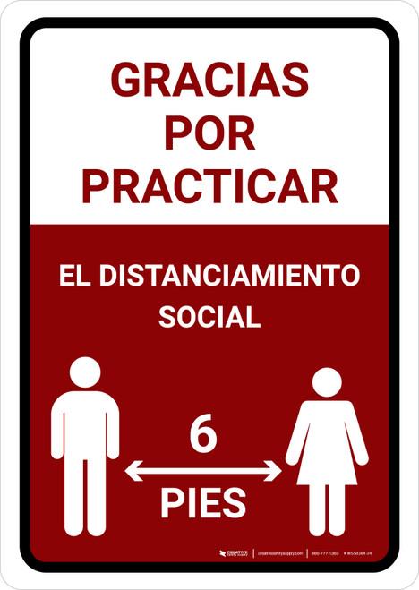 Gracias Por Practicar El Distanciamiento Social Spanish with Icon Red Portrait - Wall Sign
