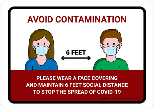 Avoid Contamination Please Wear Face Covering COVID-19 with Icons Landscape - Wall Sign