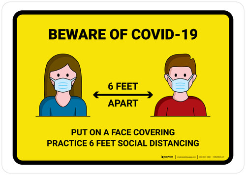 Beware Of COVID-19 with Icons Yellow Landscape - Wall Sign