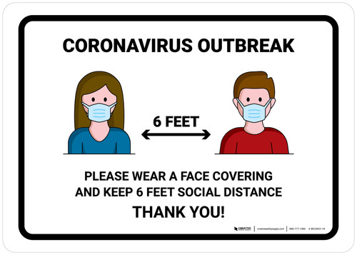 Coronavirus Outbreak Please Wear A Face Covering with Icons Landscape - Wall Sign