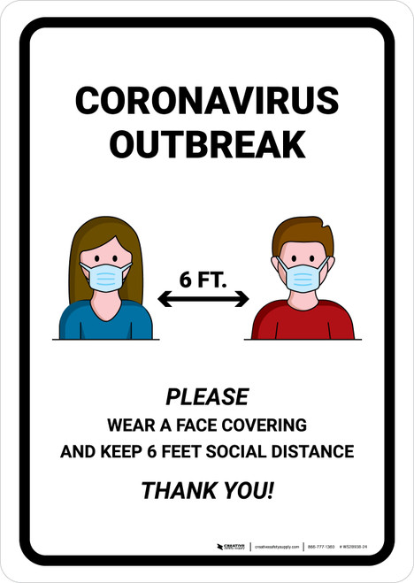 Coronavirus Outbreak Please Wear A Face Covering with Icons Portrait - Wall Sign
