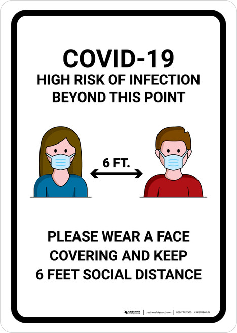 COVID-19 High Risk Of Infection with Icons Portrait - Wall Sign