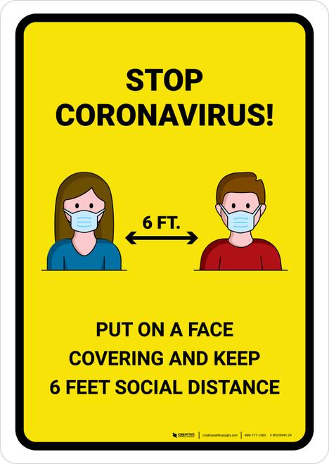 Stop Coronavirus with Icons Yellow Portrait - Wall Sign