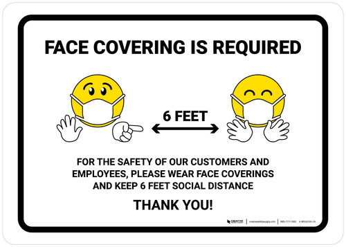 Face Covering Is Required with Emojis Landscape - Wall Sign