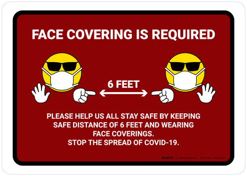 Face Covering Is Required with Emojis Red Landscape - Wall Sign
