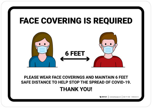 Face Covering Is Required with Icons Landscape - Wall Sign
