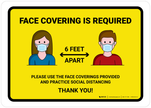 Face Covering Is Required with Icons Yellow Landscape - Wall Sign