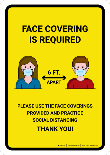 Face Covering Is Required with Icons Yellow Portrait - Wall Sign