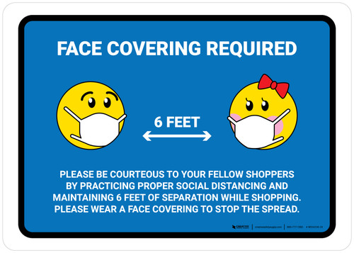 Face Covering Requried with Emojis Blue Landscape - Wall Sign