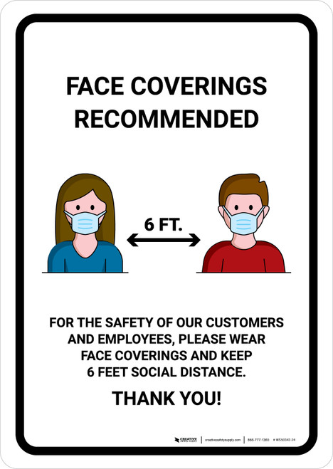 Face Coverings Recommended with Icons Portrait - Wall Sign