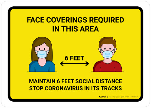 Face Coverings Required In This Areas with Icons Yellow Landscape - Wall Sign