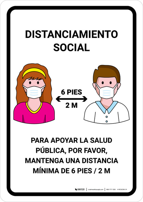 Distanciamiento Social Spanish with Icons Portrait - Wall Sign