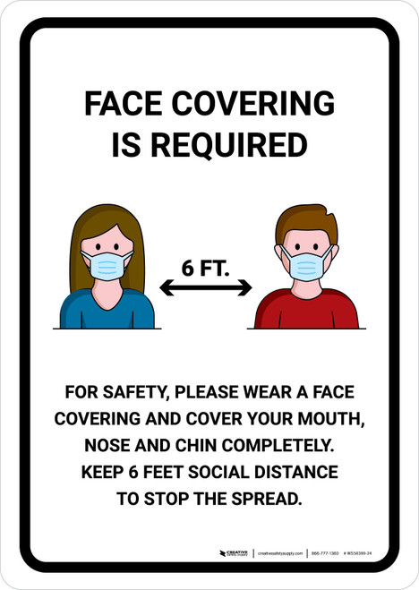 Face Covering Is Required 6 Feet with Icons Portrait - Wall Sign
